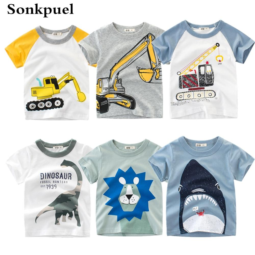 UK Toddler Baby Kids Boy Cartoon Animal Cotton Short Sleeve Tops T-shirt Clothes
