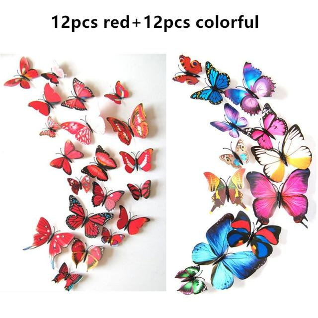 12pcs//lot PVC 3D Butterfly Wall Stickers Home Decors Kids Baby Room Kitchen Bath